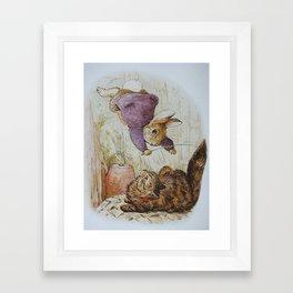 Bunny vs Kitty Framed Art Print
