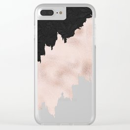 Modern black lace pink rose gold brushstrokes Clear iPhone Case