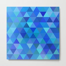 Autumn Colored Triangles Blue Metal Print