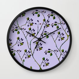 A Wild Berry Vine, Black Berries, Spring Fruit Wall Clock
