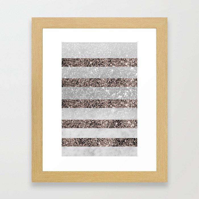 White Marble Rose Gold Glitter Stripe Glam #2 #minimal #decor #art #society6 Framed Art Print