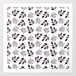 Black gray watercolor hand painted floral leaves Art Print
