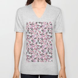Abstract trendy pink gray cute flowers pattern Unisex V-Neck