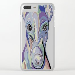 Greyhound in Denim Colors Clear iPhone Case