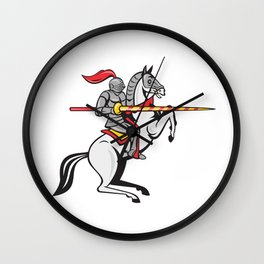Knight Lance Steed Prancing Isolated Cartoon Wall Clock
