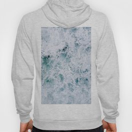 Waves in an abstract white and blue seascape Hoody