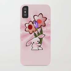 Little Pink Bunny With Flowers Slim Case iPhone X
