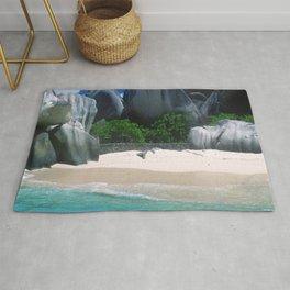 Seychelles Islands Romantic Beach With Exotic Rocks Rug