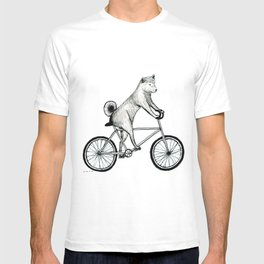 Shiba Inu Riding a Bicycle T-shirt