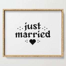 just married couple wedding gift pixel heart Serving Tray
