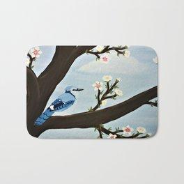 Blue Jay on Almond Blossom Tree Bath Mat