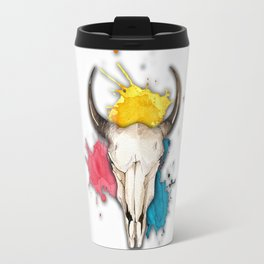 Watercolor Skull Travel Mug