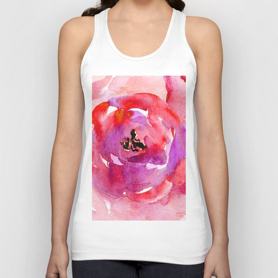 red pink flower Unisex Tank Top