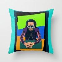 miles davis Throw Pillows featuring Davis by Liall Linz