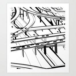 Los Angeles Black and White Art Print