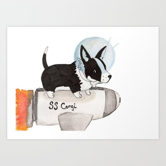 Space Corgi Art Print