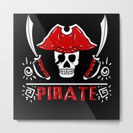 Ships Pontoon Pirate Gift Idea Pirate Motif Metal Print