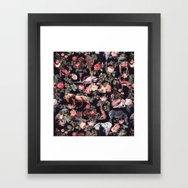 Animals and Floral Pattern Framed Art Print