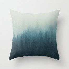 Into The Misty Nature - Turquoise II Throw Pillow
