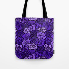 Romantic Purple roses with black outline Tote Bag