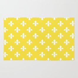 Butter Yellow Southern Cottage Fleur de Lys Rug