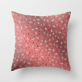pink,silver,dollar, symbol in shiny metall textur Throw Pillow