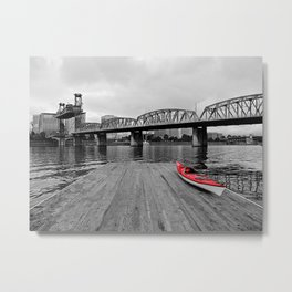 Red By The River Metal Print