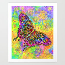 Colorful Psychedelic Rainbow Paisley Butterfly Art Print