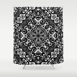 Kaleidoscope White Lace Print Shower Curtain
