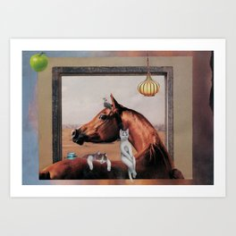 Cats relaxing on horse Art Print