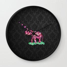 Retro Flower Elephant Pink Sakura Black Damask Wall Clock