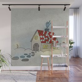 Winter Evening in Tiny Gingerbread House Wall Mural