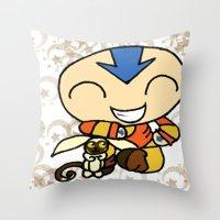 aang Throw Pillows featuring PowerPuff Aang by auroranq
