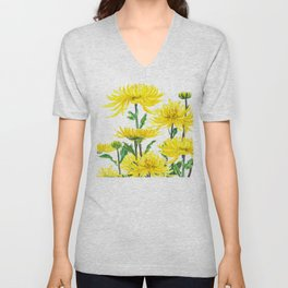 Yellow Chrysanthemums Unisex V-Neck