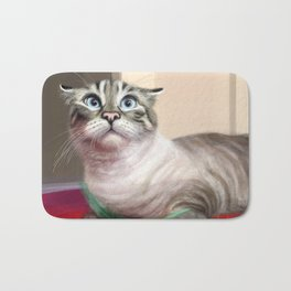 Cat Surprised Funny Animals with Feather Siamese Lynx-Point Bath Mat