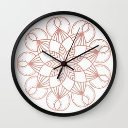 Mandala Flowery Vine Rose Gold on White Wall Clock