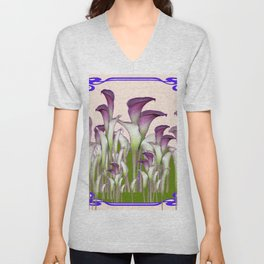 ART NOUVEAU  MAROON CALLA LILIES PURPLE DESIGN Unisex V-Neck