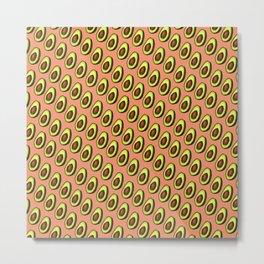 Avocados on Peach, Diagonal Metal Print