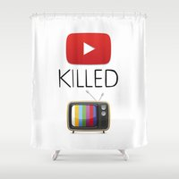 youtube Shower Curtains featuring YouTube Killed the TV by LifeQuotes