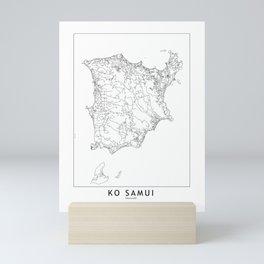 Ko Samui White Map Mini Art Print