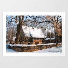 Old Romanian Cottage covered in snow Art Print