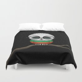 Baby Owl with Glasses and Bulgarian Flag Duvet Cover