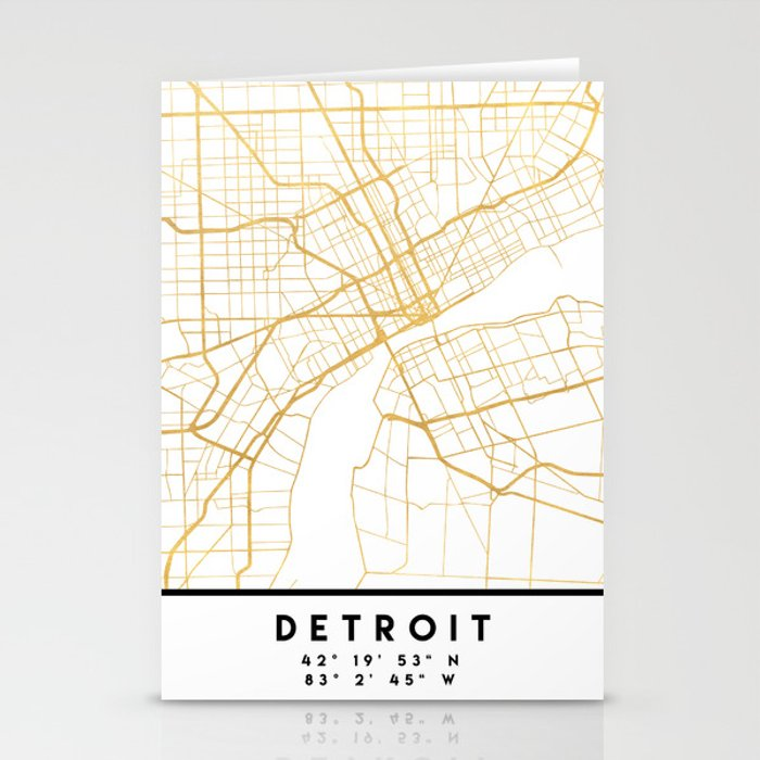 DETROIT MICHIGAN CITY STREET MAP ART Stationery Cards by deificusart
