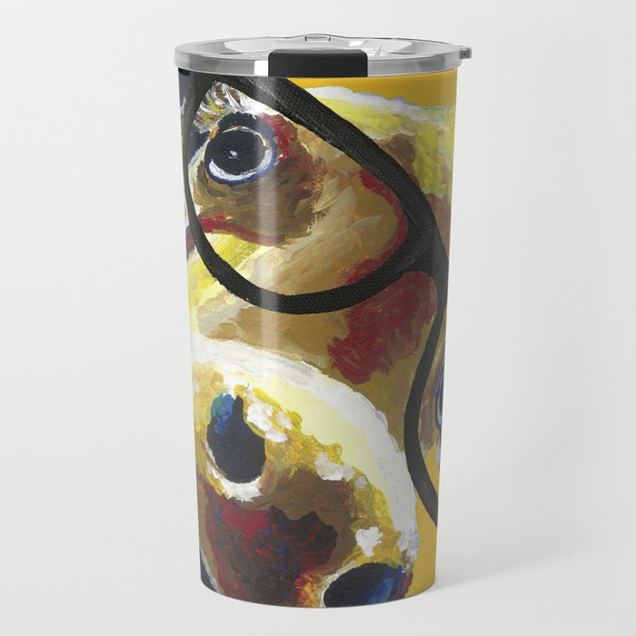 Yellow Glasses Cow, Cow up close glasses Travel Mug