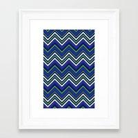 preppy Framed Art Prints featuring Preppy Chevron by Jolene Ink