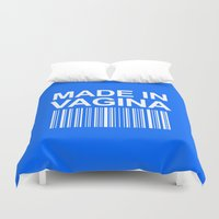 vagina Duvet Covers featuring MADE IN VAGINA BABY FUNNY BARCODE (Baby Boy Blue) by CreativeAngel