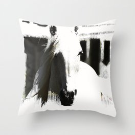 White Stallion Throw Pillow