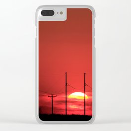 Kansas Red Sunset Clear iPhone Case