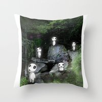 kodama Throw Pillows featuring Forest Spirits (Kodama)   by pkarnold + The Cult Print Shop