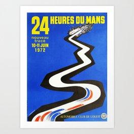 24hs Le Mans, 1972, vintage poster Art Print